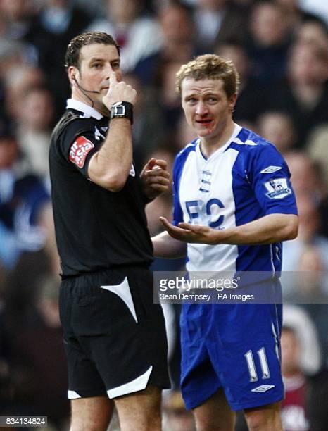 Birmingham City's Gary McSheffrey appeals to referee Mark Clattenburg after a incident with West Ham United's Hayden Mullins