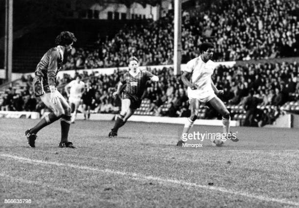 Birmingham City's Howard Gayle with Liverpool's Mark Lawrenson and Sammy Lee closing in mounts a Blues attack Liverpool v Birmingham City League Cup...