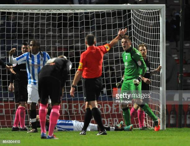 Birmingham City's Jack Butland celebrates after making a save from Huddersfield Town's Jermaine Beckford in added time during the npower Football...