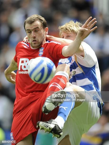 Birmingham City's James McFadden and Reading's Dan Harding battle for the ball