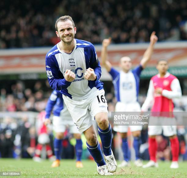 Birmingham City's James McFadden celebrates after scoring from the penalty spot to score the equalizer