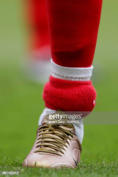 Birmingham City's Jermaine Pennant wearing a electronic tag on his left ankle