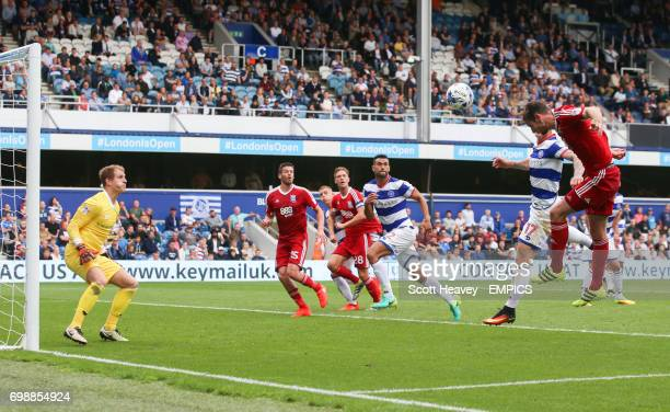 Birmingham City's Jonathan Grounds has a header saved by Queens Park Rangers Alex Smithies