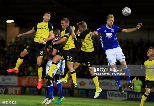Birmingham City's Marc Roberts in action with Burton Albion's Matthew Lund Jake Buxton and Kyle McFadzean during the Sky Bet Championship match at...