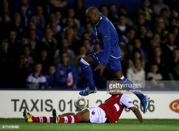 Birmingham City's Marlon King hurdles the challenge of Braga's Ewerton Jose Almeida Santos