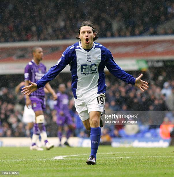 Birmingham City's Mauro Zarate celebrates scoring his sides second goal of the match