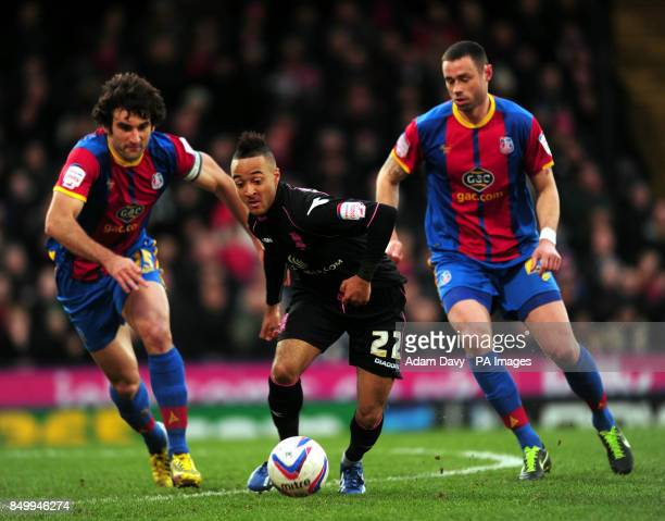 Birmingham City's Nathan Redmond and Crystal Palace's Mile Jedinak and Damien Delaney during the npower Championship match at Selhurst Park London
