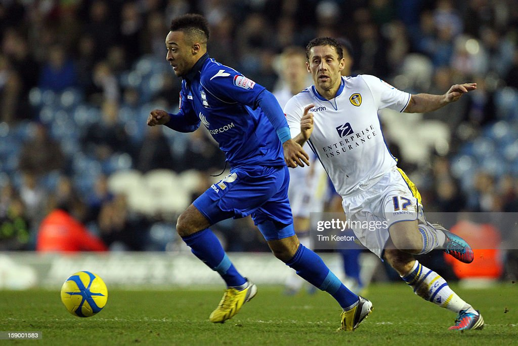 Birmingham City's Nathan Redmond and Leeds United's Michael Brown during the FA Cup with Budweiser Third Round match between Leeds United and Birmingham City at Elland Road Stadium on January 5, 2013 Leeds, England.