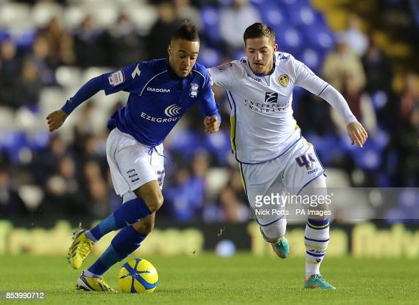 Birmingham City's Nathan Redmond and Leeds United's Ross McCormack battle for the ball