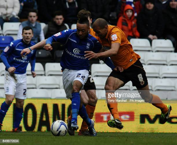 Birmingham City's Nathan Redmond and Wolverhampton Wanderers' Karl Henry battle for the ball during the npower Football League Championship match at...