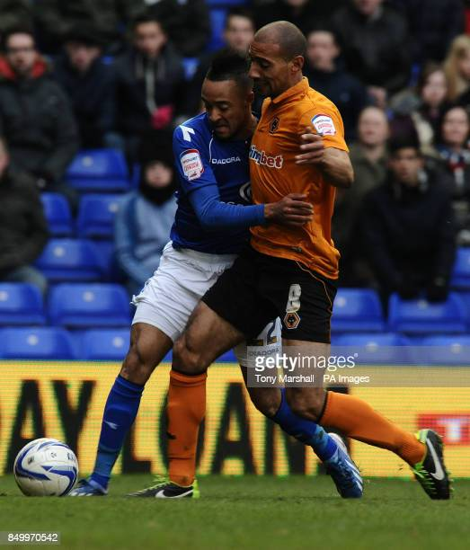 Birmingham City's Nathan Redmond and Wolverhampton Wanderers' Karl Henry during the npower Football League Championship match at St Andrews Birmingham