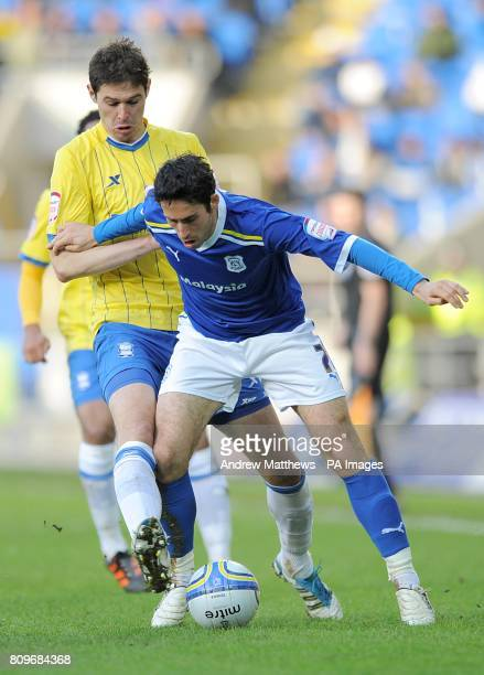 Birmingham City's Nikola Zigic and Cardiff City's Peter Whittingham in action