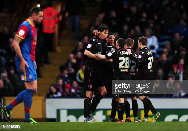 Birmingham City's Nikola Zigic celebrates after his shot is turned in by Crystal Palace's Damien Delaney for the second goal during the npower...