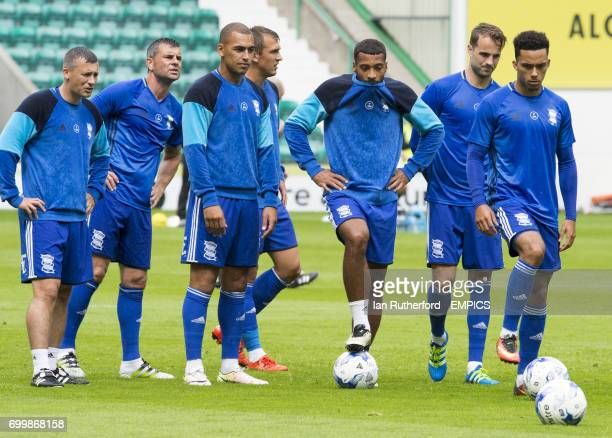 Birmingham City's Paul Caddis Paul Robinson James Vaughan Robert Tesche David Davis Andrew Shinnie and Josh Cogley during the warm up