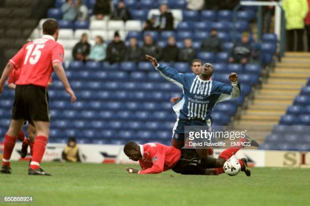 Birmingham City's Paul Furlong is tackled by Nottingham Forest's Chris BartWilliams