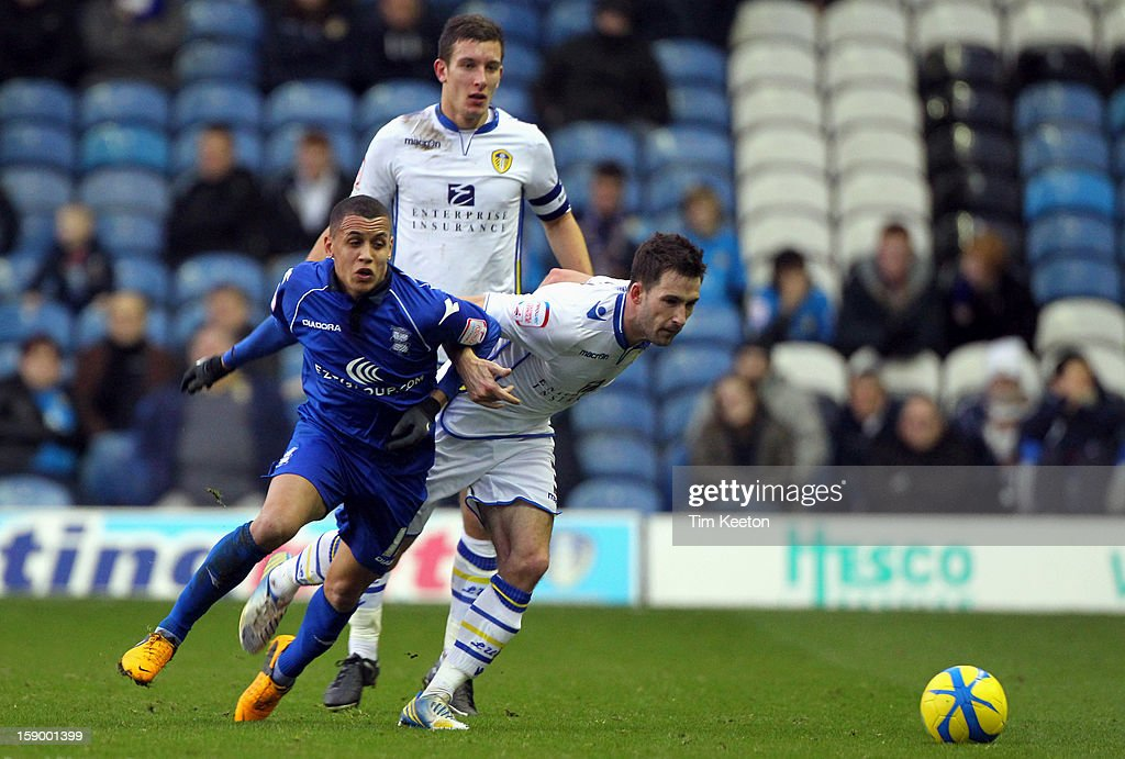 Birmingham City's <a gi-track='captionPersonalityLinkClicked' href=/galleries/search?phrase=Ravel+Morrison&family=editorial&specificpeople=5621330 ng-click='$event.stopPropagation()'>Ravel Morrison</a> and Leeds United's <a gi-track='captionPersonalityLinkClicked' href=/galleries/search?phrase=Adam+Drury&family=editorial&specificpeople=242793 ng-click='$event.stopPropagation()'>Adam Drury</a> during the FA Cup with Budweiser Third Round match between Leeds United and Birmingham City at Elland Road Stadium on January 5, 2013 Leeds, England.