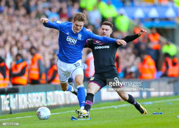 Birmingham City's Sam Gallagher and Aston Villa's Scott Hogan battle for the ball during the Sky Bet Championship match at St Andrew's Birmingham