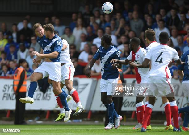Birmingham City's Shane Lowry heads in the equalising goal