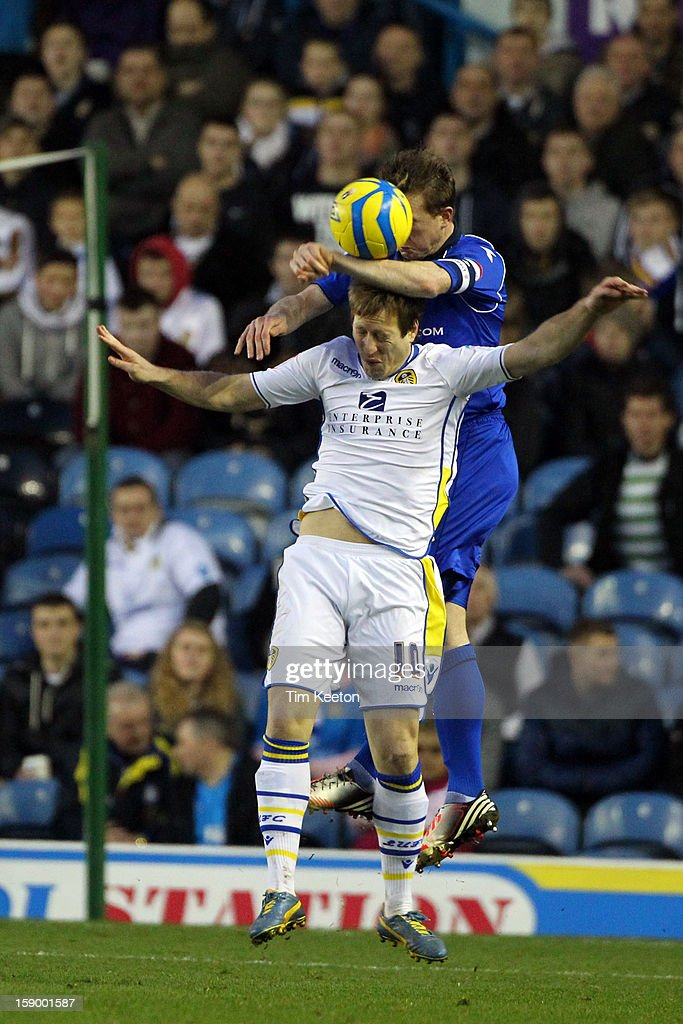Birmingham City's Stephen Caldwell and Leeds United's Luciano Becchio during the FA Cup with Budweiser Third Round match between Leeds United and Birmingham City at Elland Road Stadium on January 5, 2013 Leeds, England.