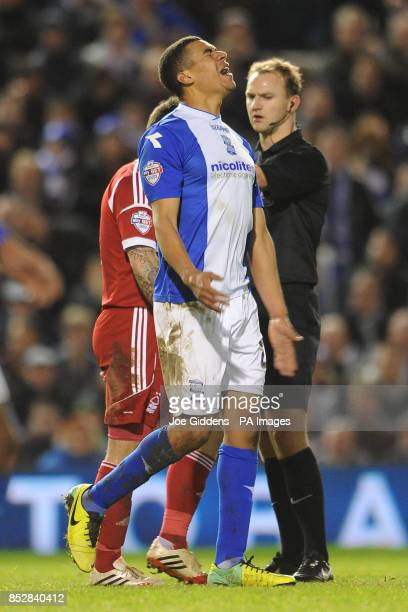 Birmingham City's Tom Adeyemi shows his frustration at a decision by referee Robert Madley during the Sky Bet Championship match at St Andrews...