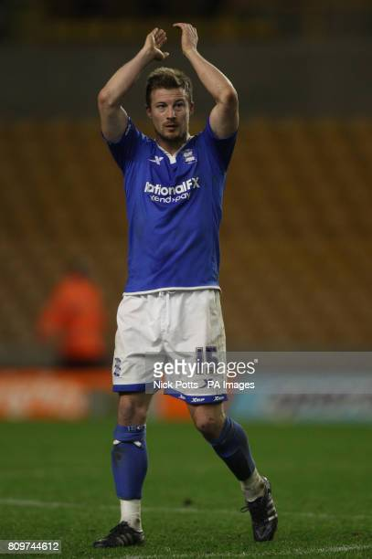 Birmingham City's Wade Elliott celebrates with fans after his goal give his team a 10 win over Wolverhampton Wanderers during the FA Cup Third Round...
