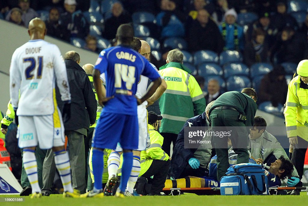 Birmingham City's Will Packwood is stretchered off during the FA Cup with Budweiser Third Round match between Leeds United and Birmingham City at Elland Road Stadium on January 5, 2013 Leeds, England.