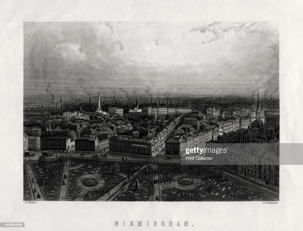 'Birmingham' England 19th century View of smoking factory chimneys in the city of Birmingham in the West Midlands During the Industrial Revolution...