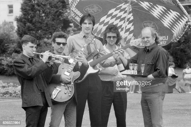 Birmingham International Jazz and Blues Festival Artists 29th June 1988 Into The Blue Birmingham jazz band cool down with some champagne at Reps Cafe...