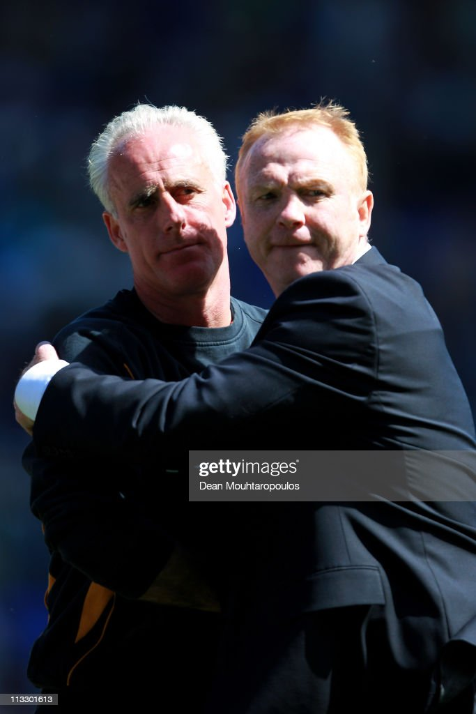 Birmingham Manager Alex McLeish hugs Wolves Manager Mick McCarthy during the Barclays Premier League match between Birmingham City and Wolverhampton...