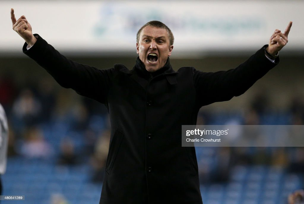 Birmingham manager Lee Clark shouts from the touch line during the Sky Bet Championship match between Millwall and Birmingham City at The Den on March 25, 2014 in London, England.