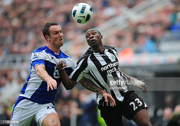 Birmingham player Martin Jiranek battles with Shola Ameobi during the Barclays Premier League game between Newcastle United and Birmingham City at St...