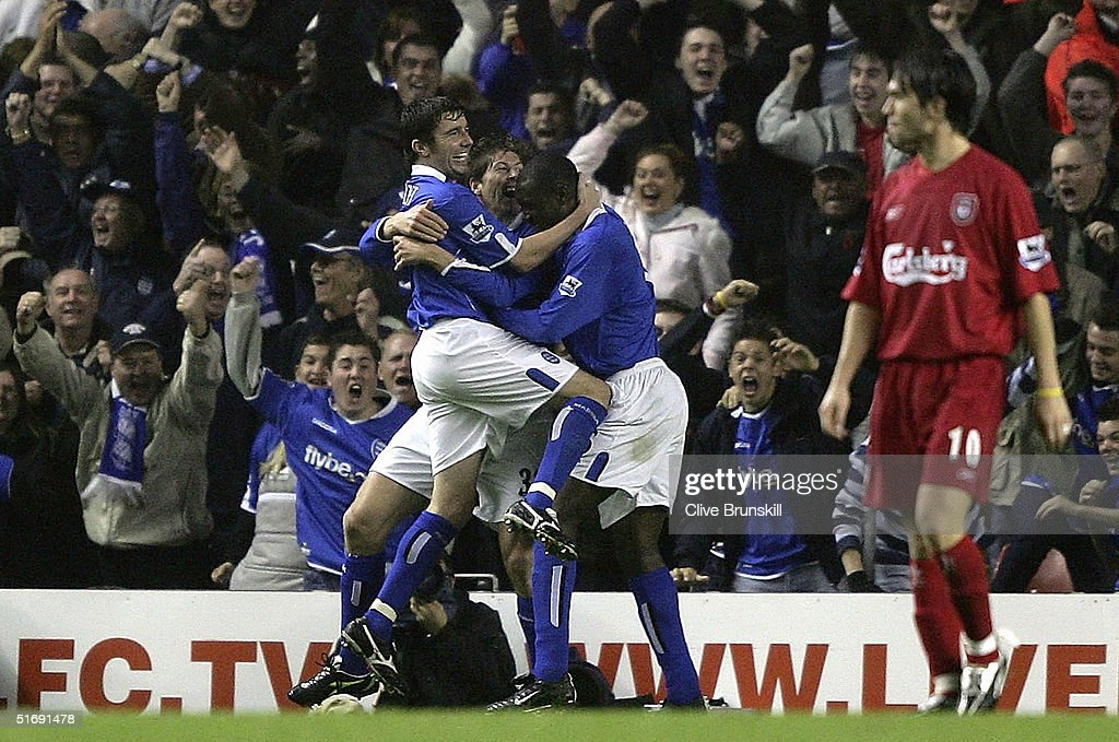 Birmingham players celebrate Darren Anderton's winning goal during the Barclays Premiership match between Liverpool and Birmingham City at Anfield on...