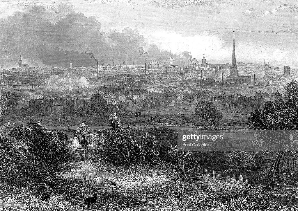 Birmingham viewed from the south showing smoking chimneys c1860 A small manufacturing town until the 18th century Birmingham was one of the most...