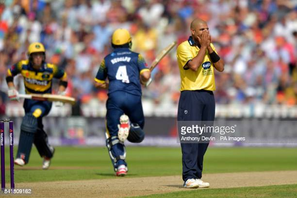 Birmingham's Jeetan Patel reacts as Glamorgan's Colin Ingram and Jacques Rudolph run between the wickets during the NatWest T20 Blast Finals Day at...