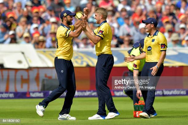 Birmingham's Oli Stone celebrates after Grant Elliott took the catch of Glamorgan's Colin Ingram during the NatWest T20 Blast Finals Day at Edgbaston...