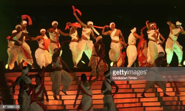 Birsa Munda dance in progress during the inaugural function of the 34th National Games at Birsa Munda Athletic stadium in Ranchi