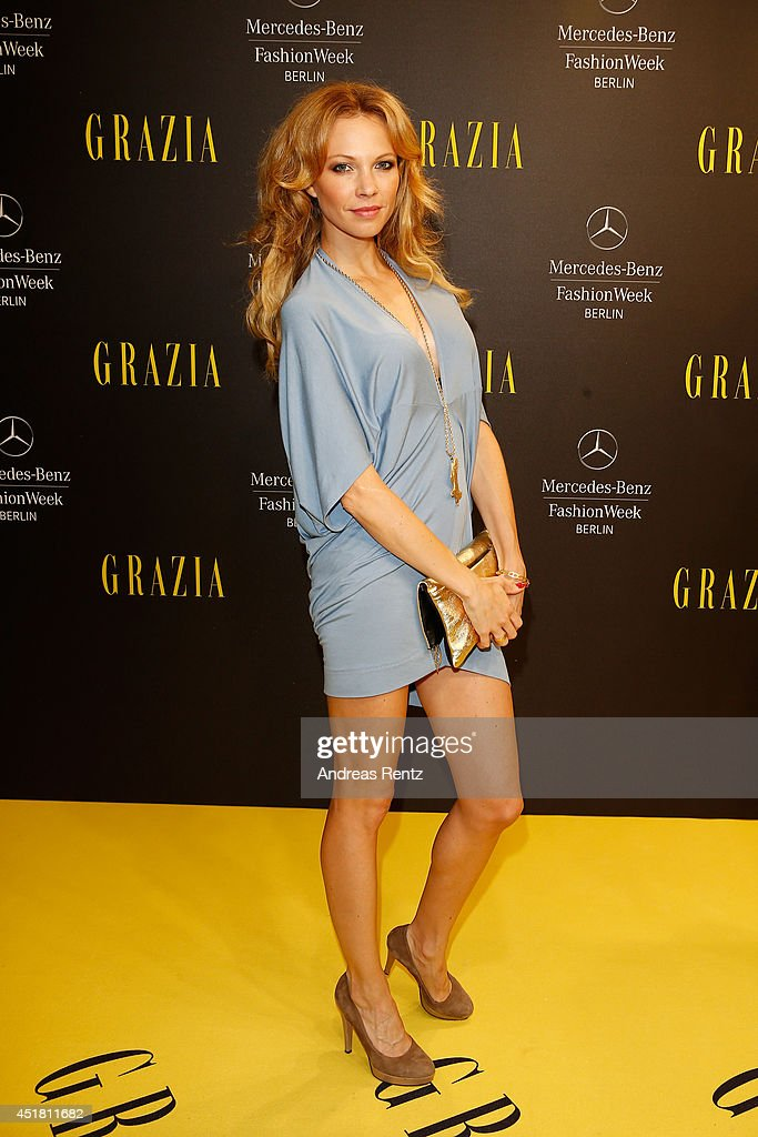 Birte Glang arrives for the Opening Night by Grazia fashion show during the Mercedes-Benz Fashion Week Spring/Summer 2015 at Erika Hess Eisstadion on July 7, 2014 in Berlin, Germany.