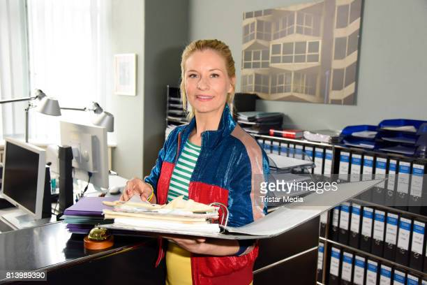 Birte Hanusrichter during 'Jenny Echt gerecht' RTL TV series Set Visit In Berlin on July 13 2017 in Berlin Germany