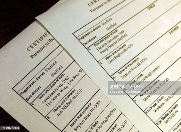 Birth certificates of Liam and Joel Blood bearing the name of their father after their mother Diane Blood won her long legal battle to have her late...