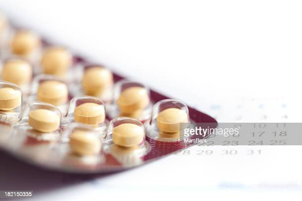Birth control pills macro with calendar