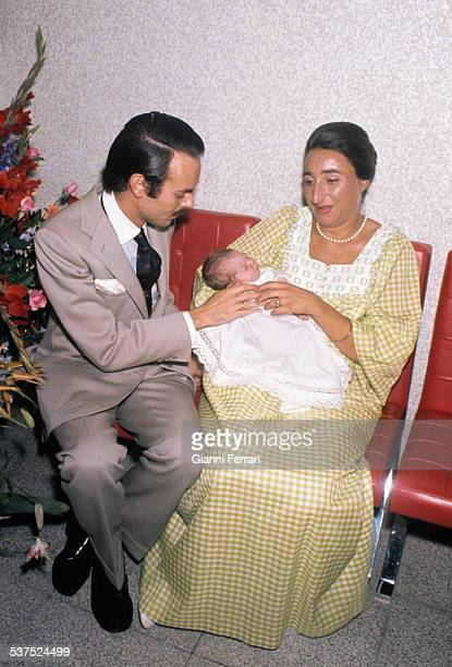 Birth of Alfonso first son of the Princess Margarita of Bourbon and Carlos Zurita 9th August 1973 Madrid Spain