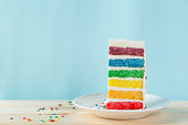 Birthday background - striped rainbow cake with white frosting decorations, copy space