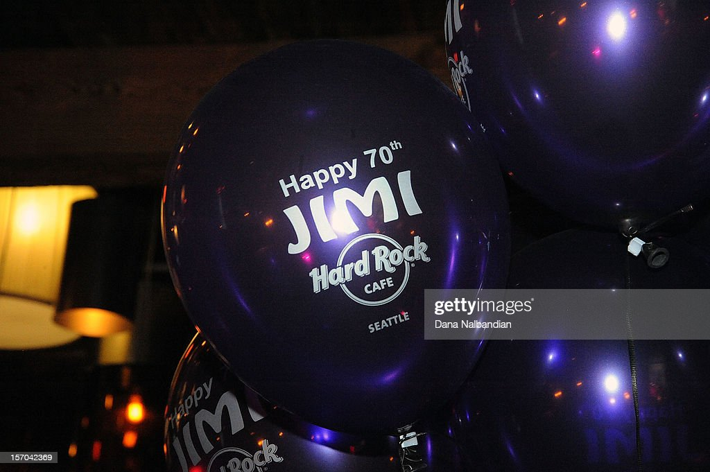 Birthday balloons at Jimi Hendrix 70th birthday party at Hard Rock Cafe Seattle on November 27, 2012 in Seattle, Washington.