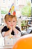 Birthday boy pouting