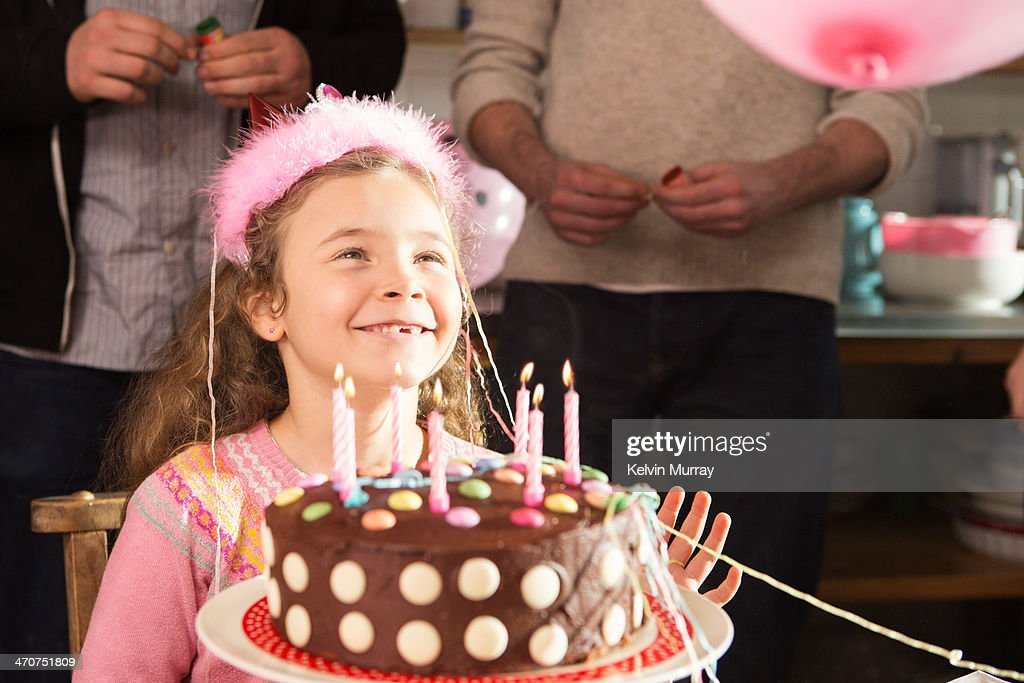 Birthday cake baking with daddy : Stock Photo