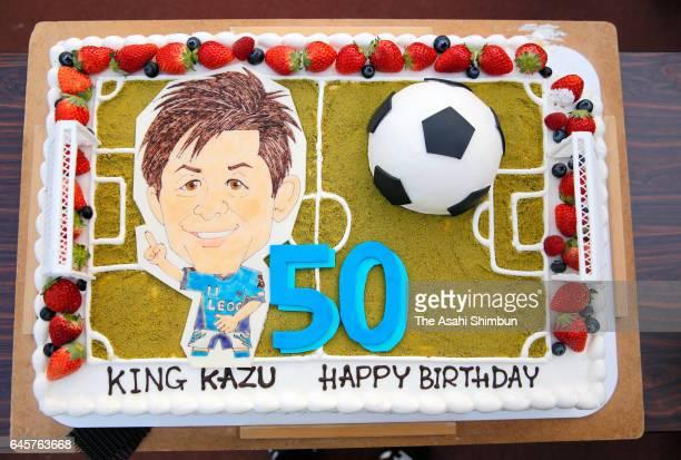A birthday cake for Kazuyoshi Miura's 50th birthday is seen after the JLeague J2 match between Yokohama FC and Matsumoto Yamaga at Nippatsu Mitsuzawa...