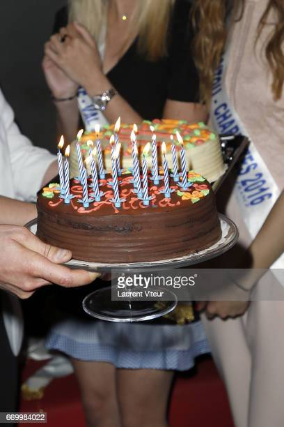 Birthday Cake for Miss France 2017 Alicia Aylies Surprise Birthday at BAM Karaoke Box on April 18 2017 in Paris France