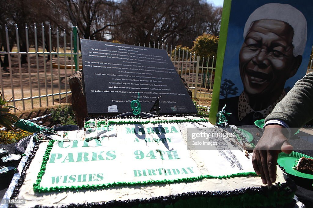 A birthday cake for Nelson Mandela at Thokoza Park on Mandela's 94th birthday on July 18, 2012 in Soweto, South Africa. Children at the park were given cupcakes as part of the celebrations. Tributes from all over South Africa are celebrating Mandela's 94th Birthday on July 18.