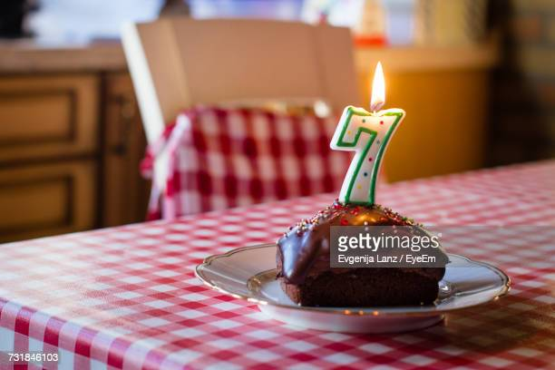 Birthday Cake In Plate On Table