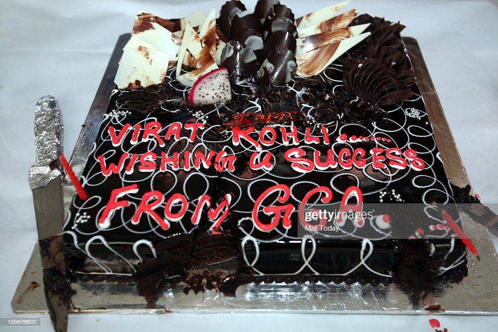 Birthday cake of Delhi cricketer Virat Kohli who turned 24 today. Virat celebrated his birthday in Ghaziabad during Ranji trophy match against Uttar Pradesh on Monday, 5th November 2012.